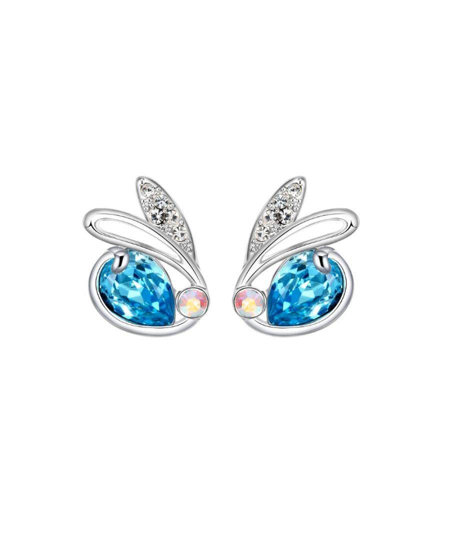 Image for Swarovski - Blue Swarovski Crystal Elements Rabbit Earrings and Rhodium Plated