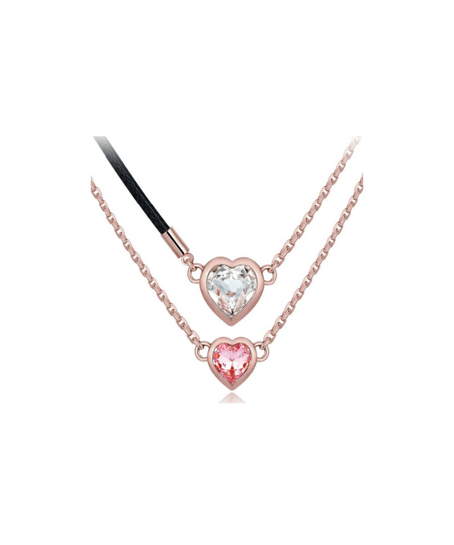Image for Swarovski - White and Pink Swarovski Crystal Elements and Rhodium Plated Double Heart Necklace
