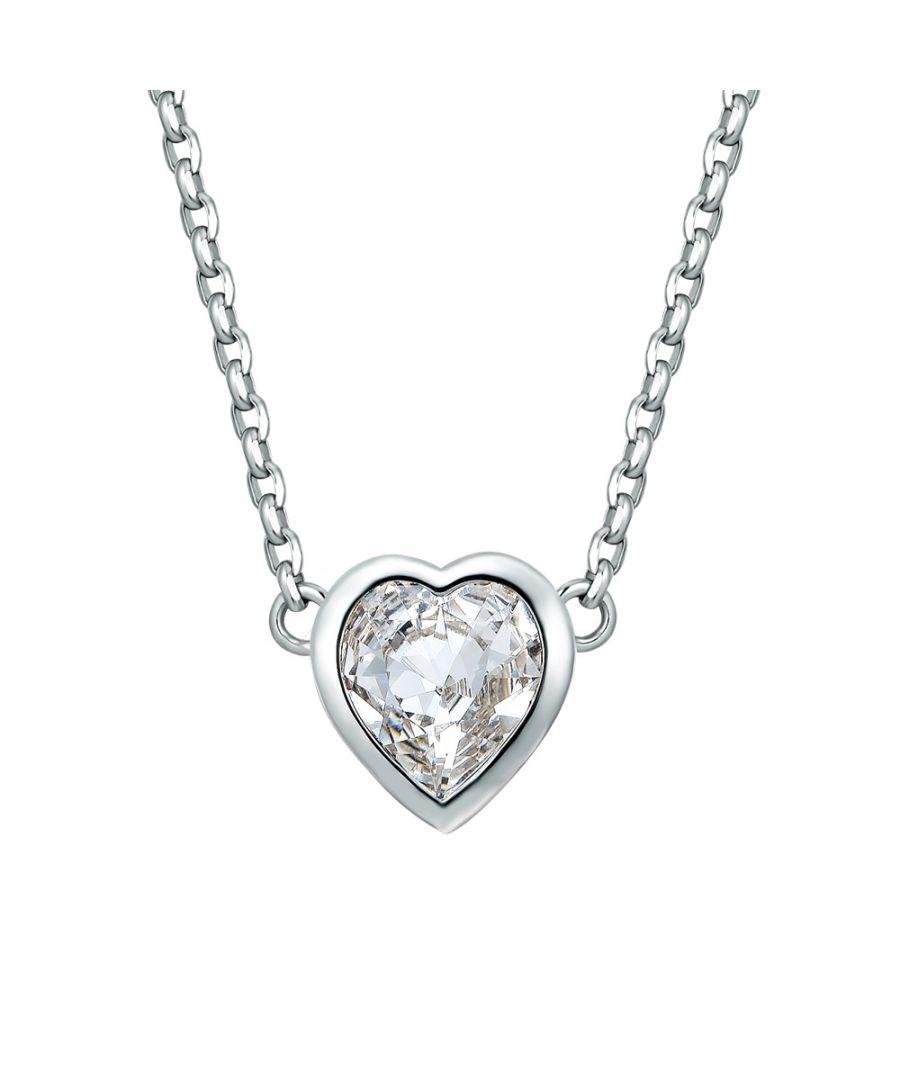 Image for Swarovski - White Swarovski Crystal Elements and Rhodium Plated Heart Necklace