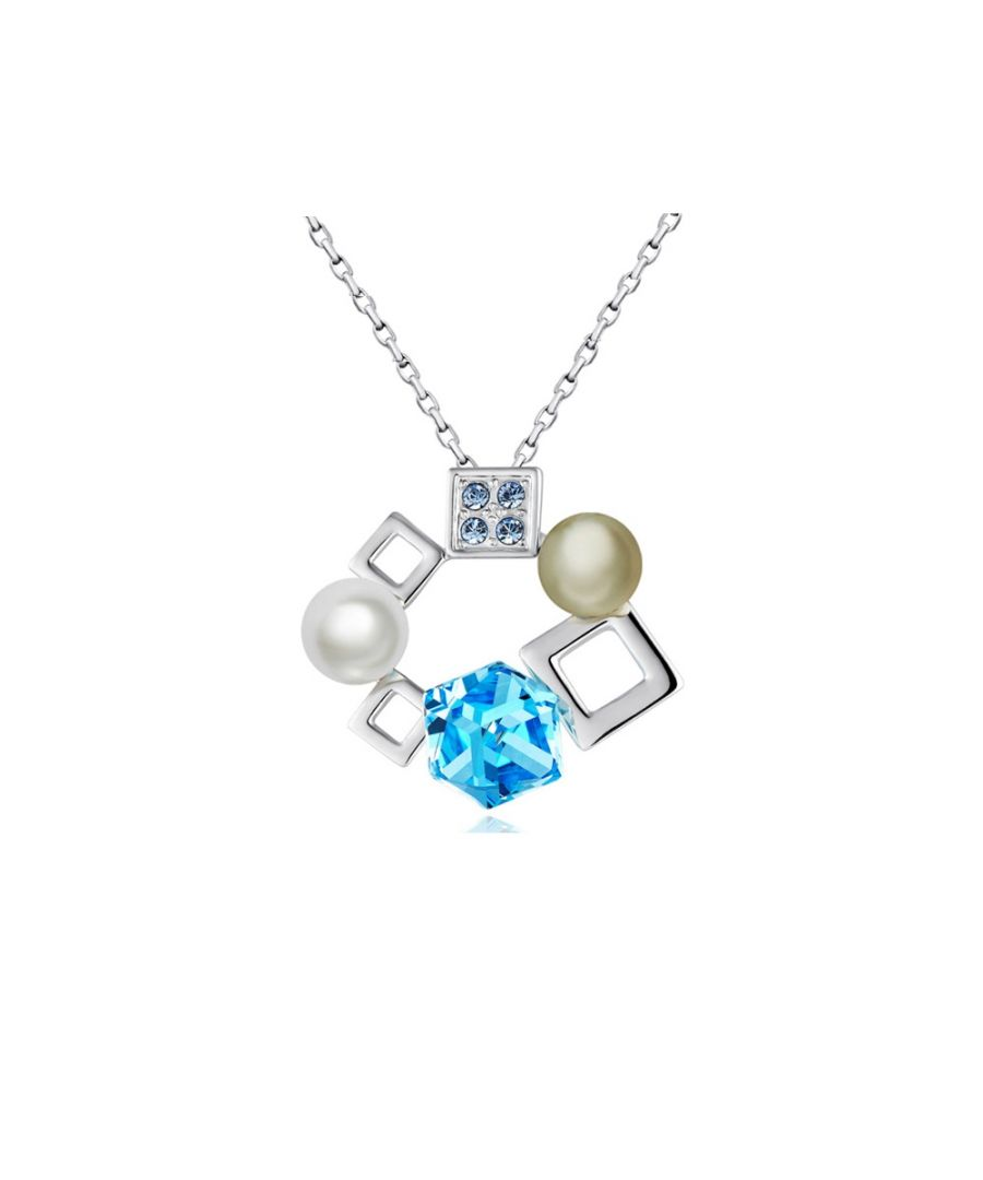 Image for Swarovski - White Pearl and Blue Cubes Swarovski Crystal Elements Pendant