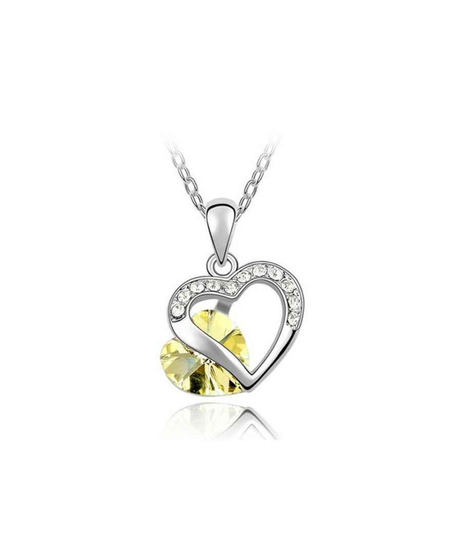 Image for Swarovski - Heart Pendant mades with Yellow Swarovski Crystal Element