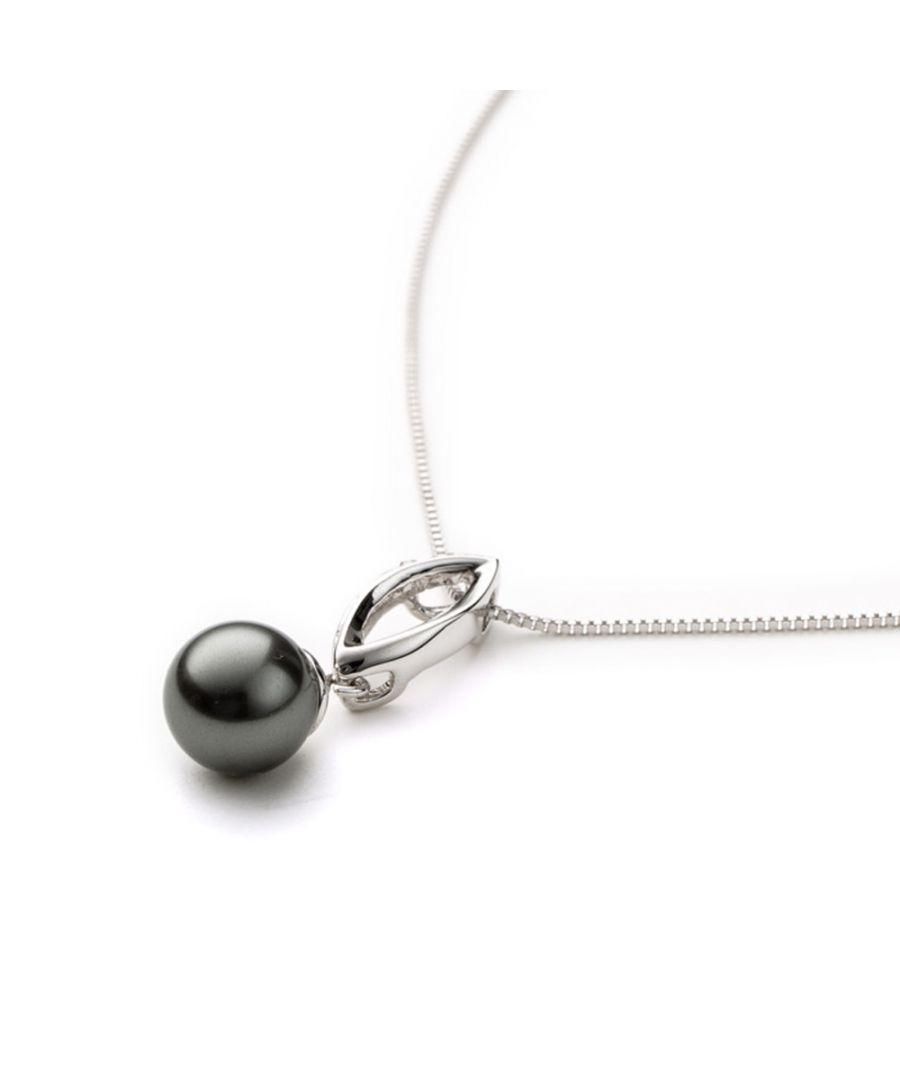 Image for Grey Pearl and Crystal Pendant and white gold plated