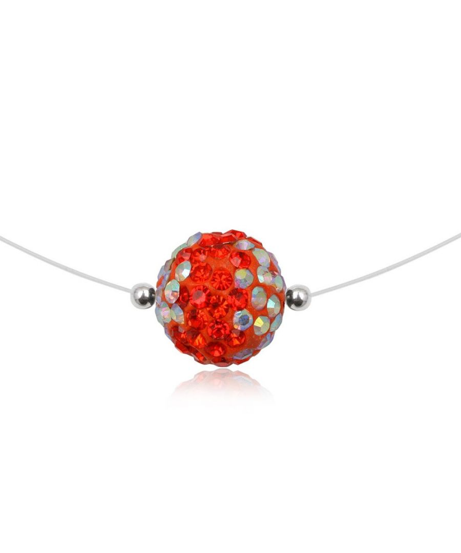 Image for Red Bead Crystal Invisible Nylon Necklace Red and 925 Silver