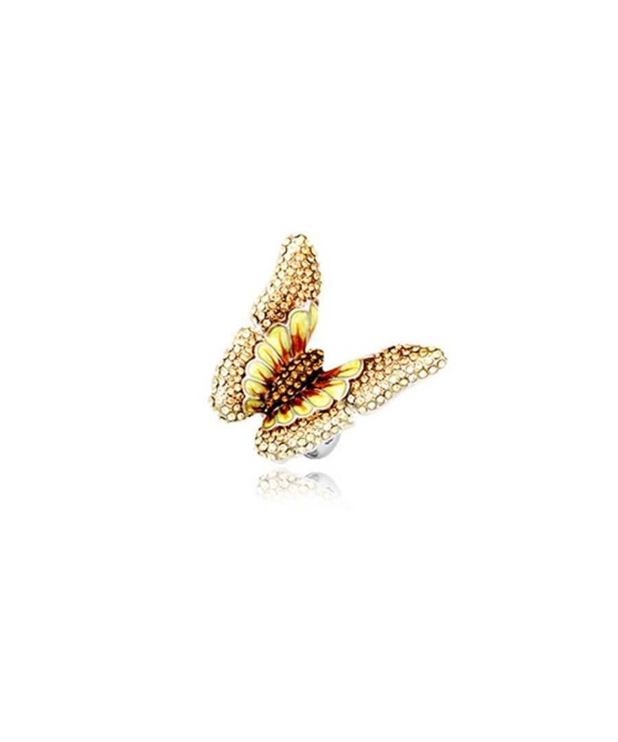 Image for Yellow Crystal Butterfly Ring and Rhodium