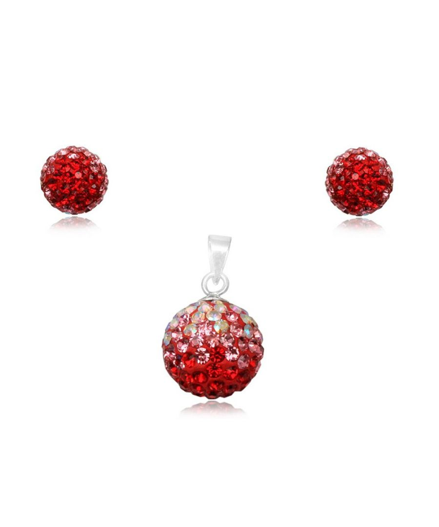 Image for Red Crystal Pendant and Earrings Set and 925 Silver
