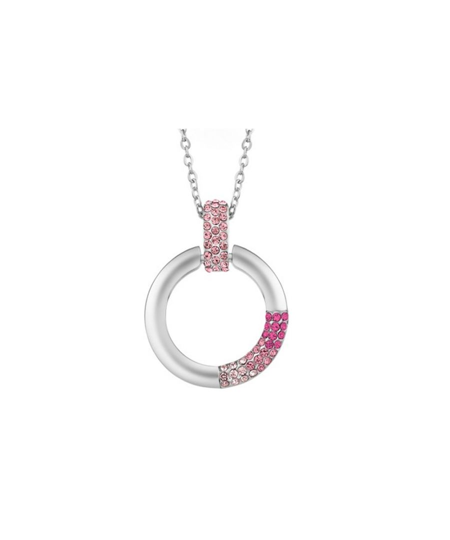 Image for Swarovski - Pink Swarovski Crystal Elements Circle Pendant and Rhodium Plated