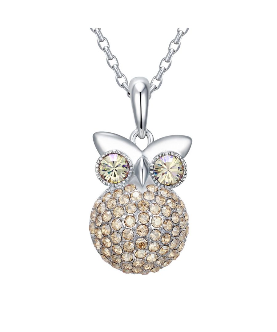 Image for Swarovski - Champagne Swarovski Crystal Elements and Rhodium Plated Owl Pendant