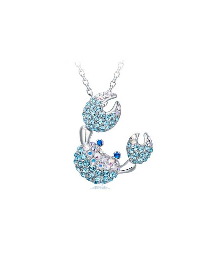 Image for Swarovski - Blue Swarovski Elements Crystal Crab Pendant
