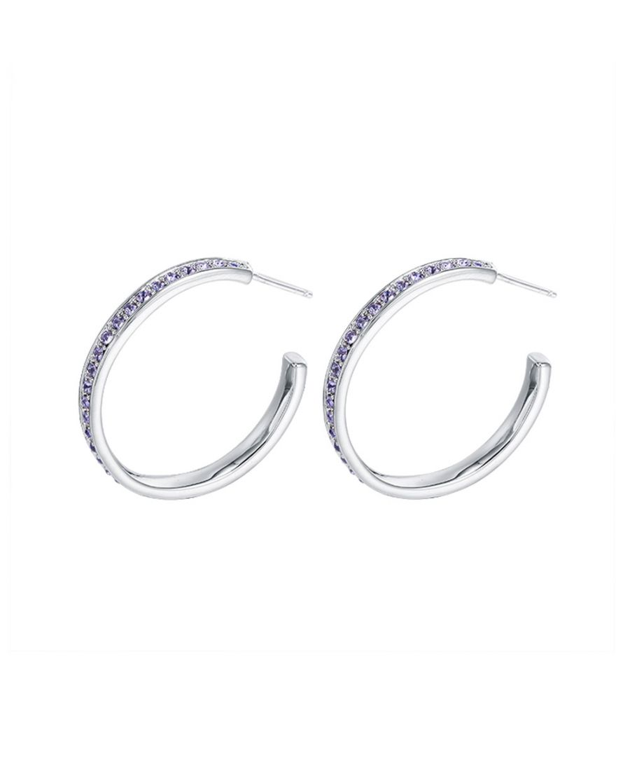 Image for Swarovski - Purple Swarovski Crystal Elements Hoop Earrings