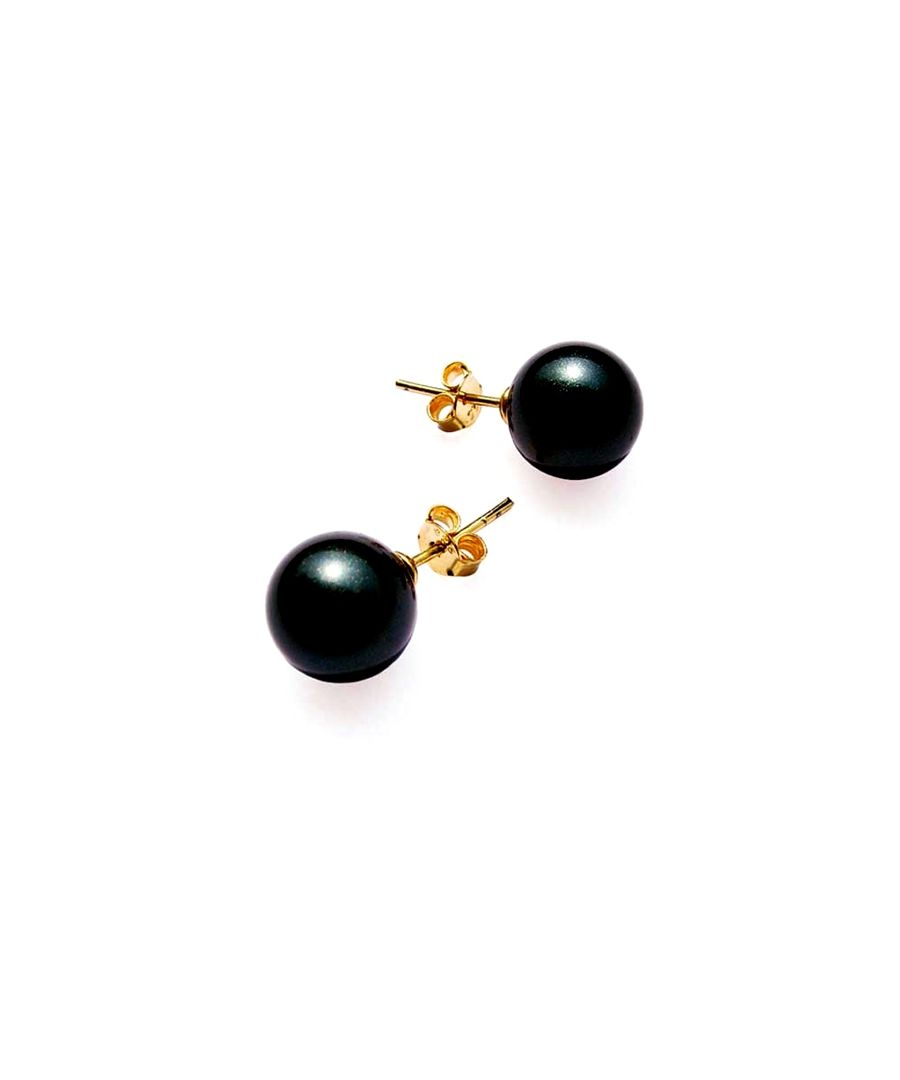Image for Black Mother of pearls Earrings and 14K yellow Gold plated