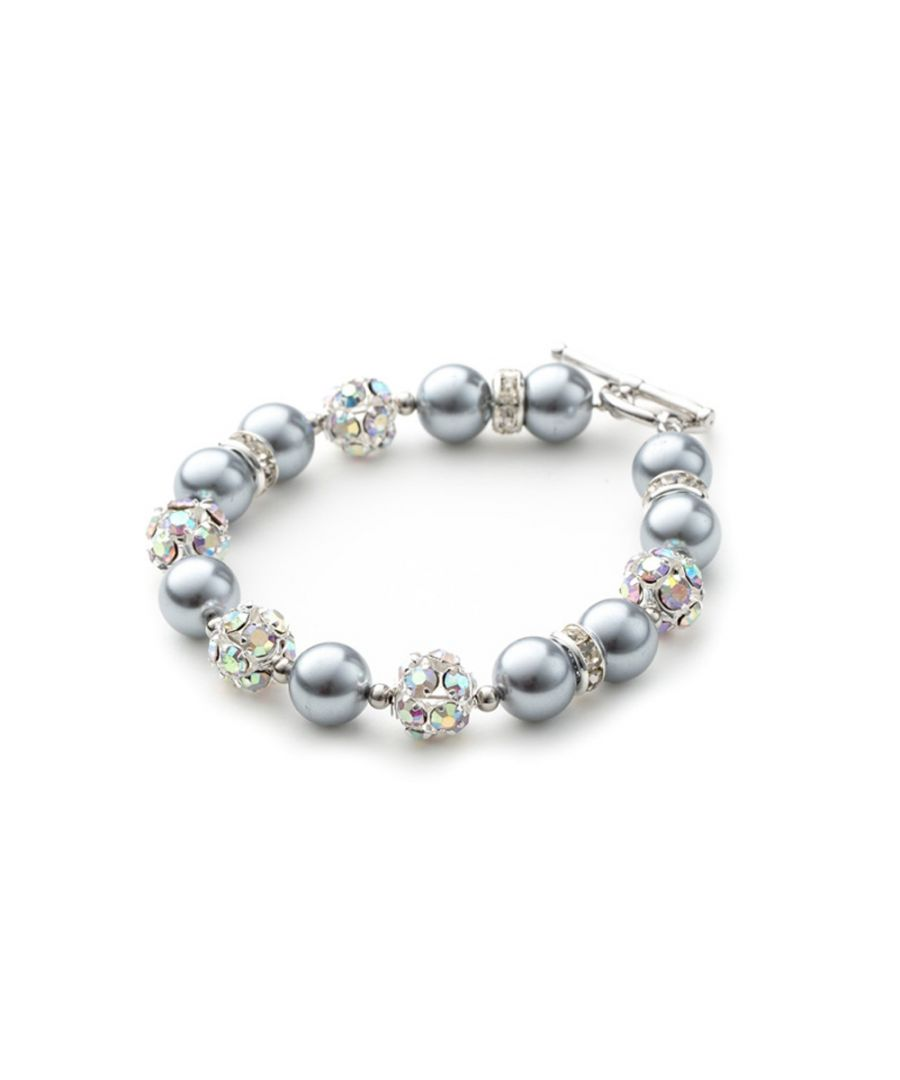 Image for Silver Pearls, Crystal and Rhodium Plated 1 Row Bracelet