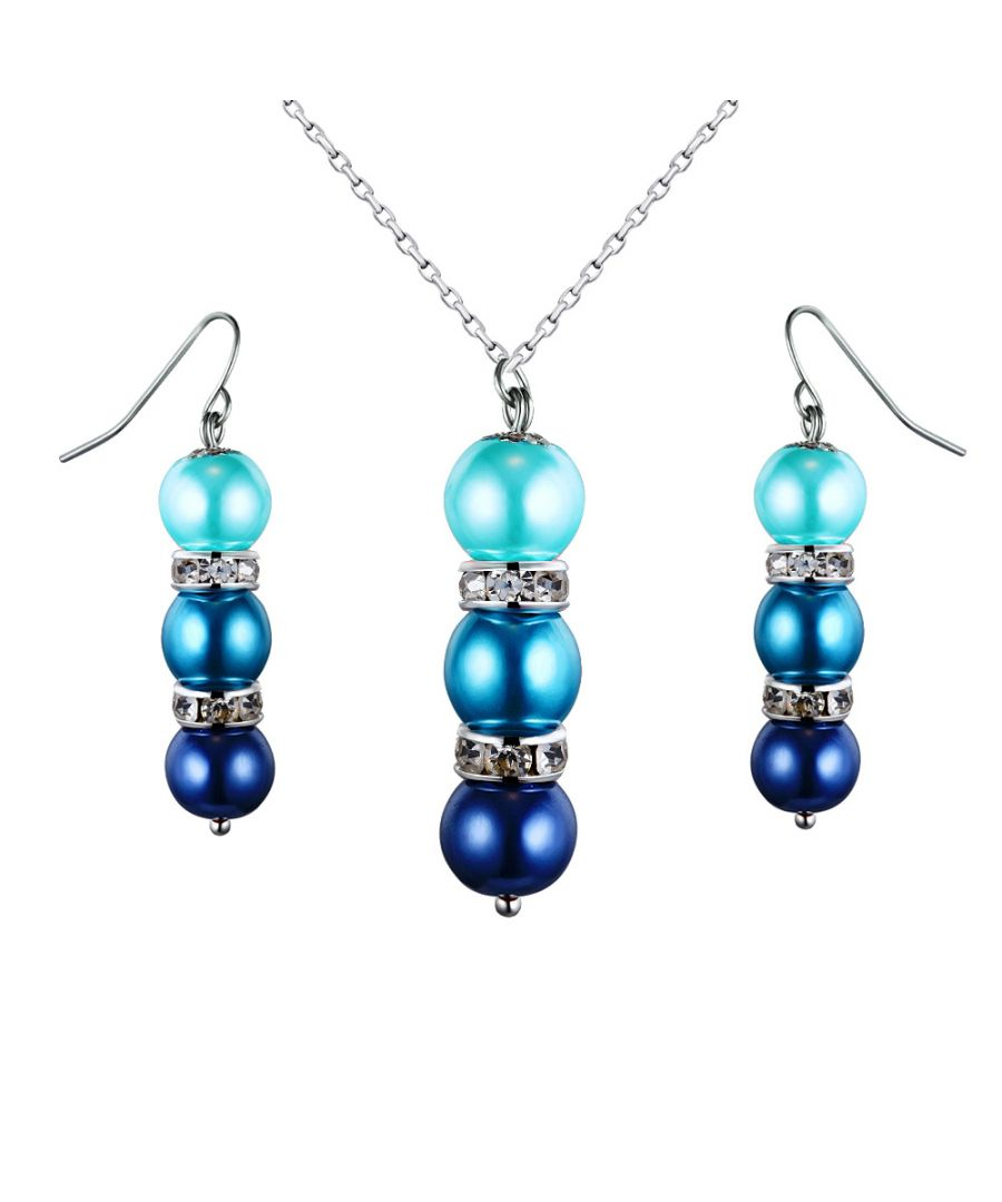 Image for Turquoise Pearls, Crystal Pendant and Earrings Set