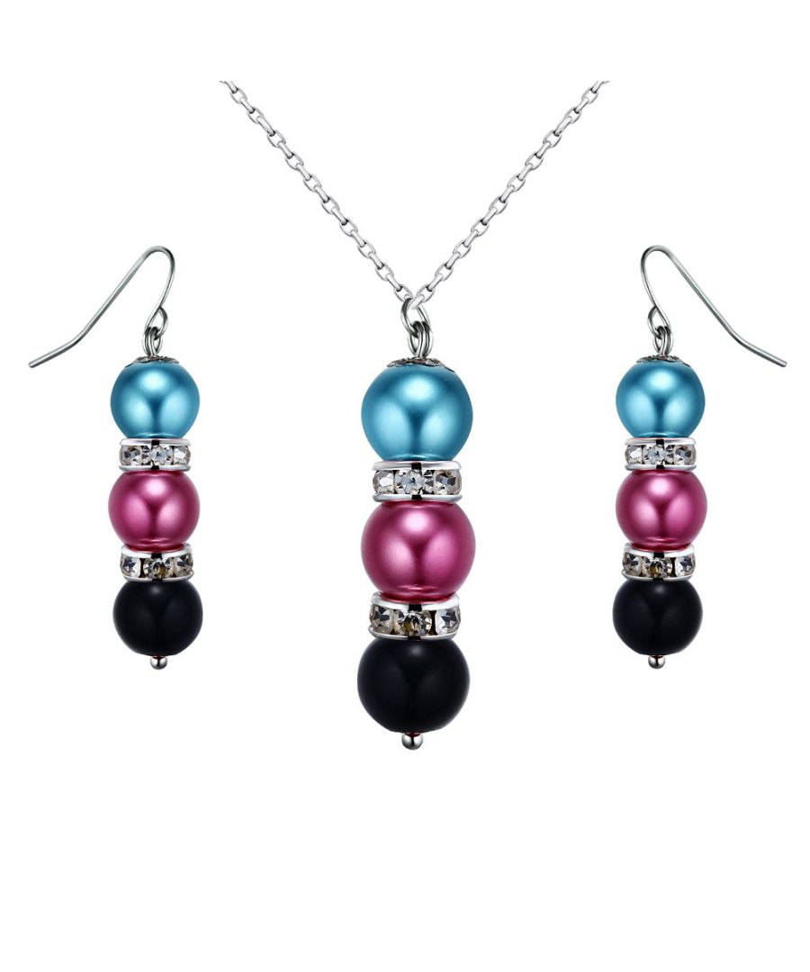 Image for Multicolor Pearls, Crystal Pendant and Earrings Set