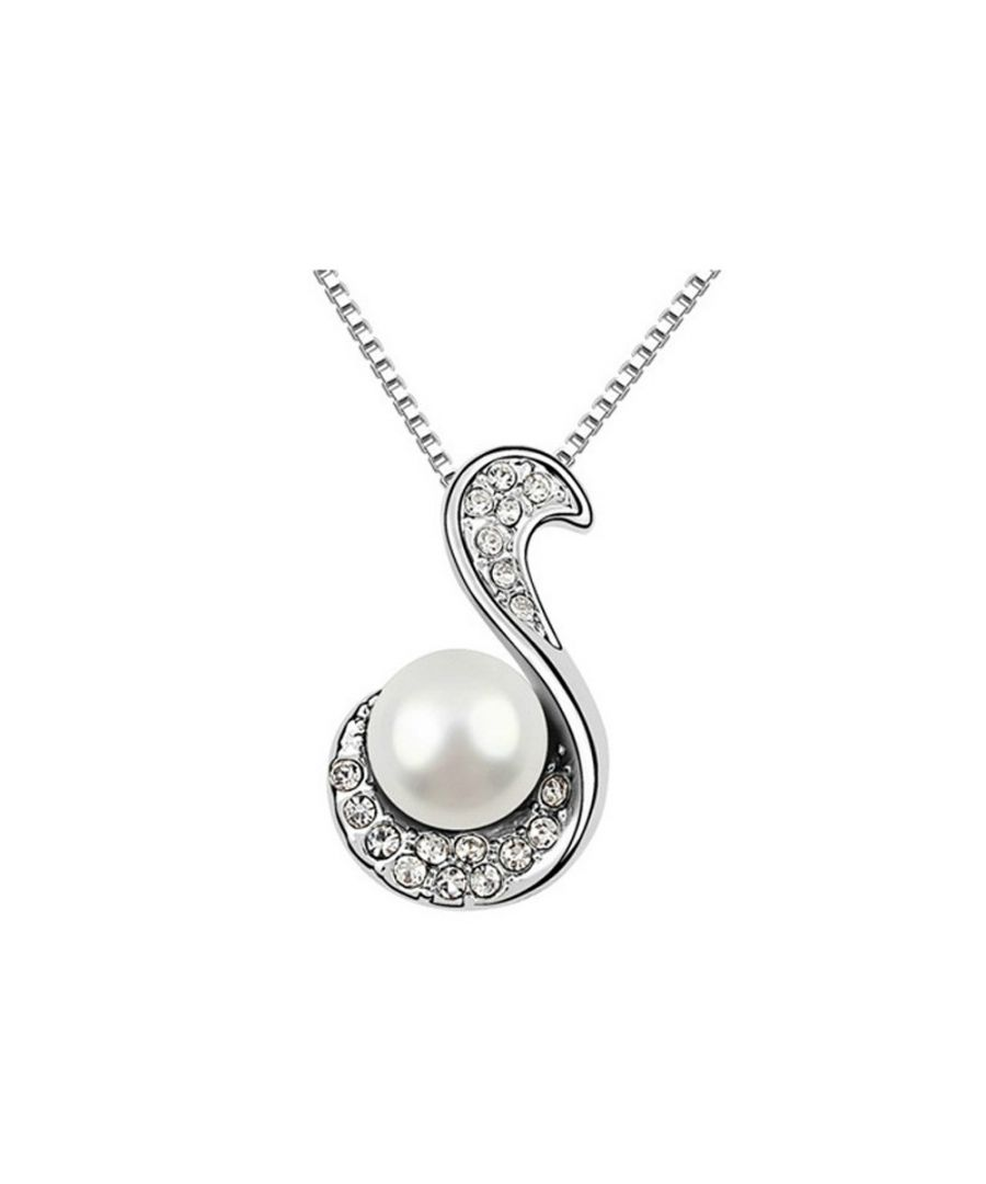 Image for White pearl and white crystal Pendant