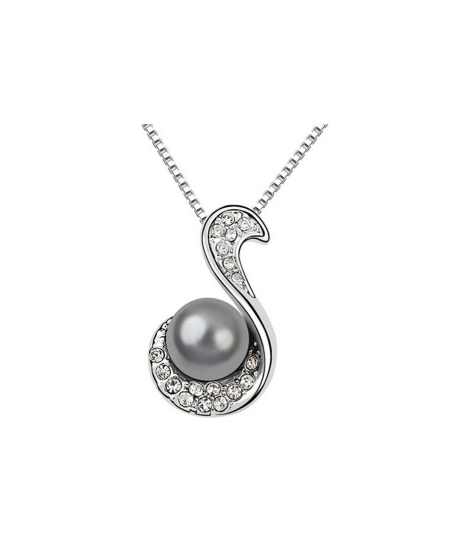 Image for Black Pearl and White Crystal Pendant