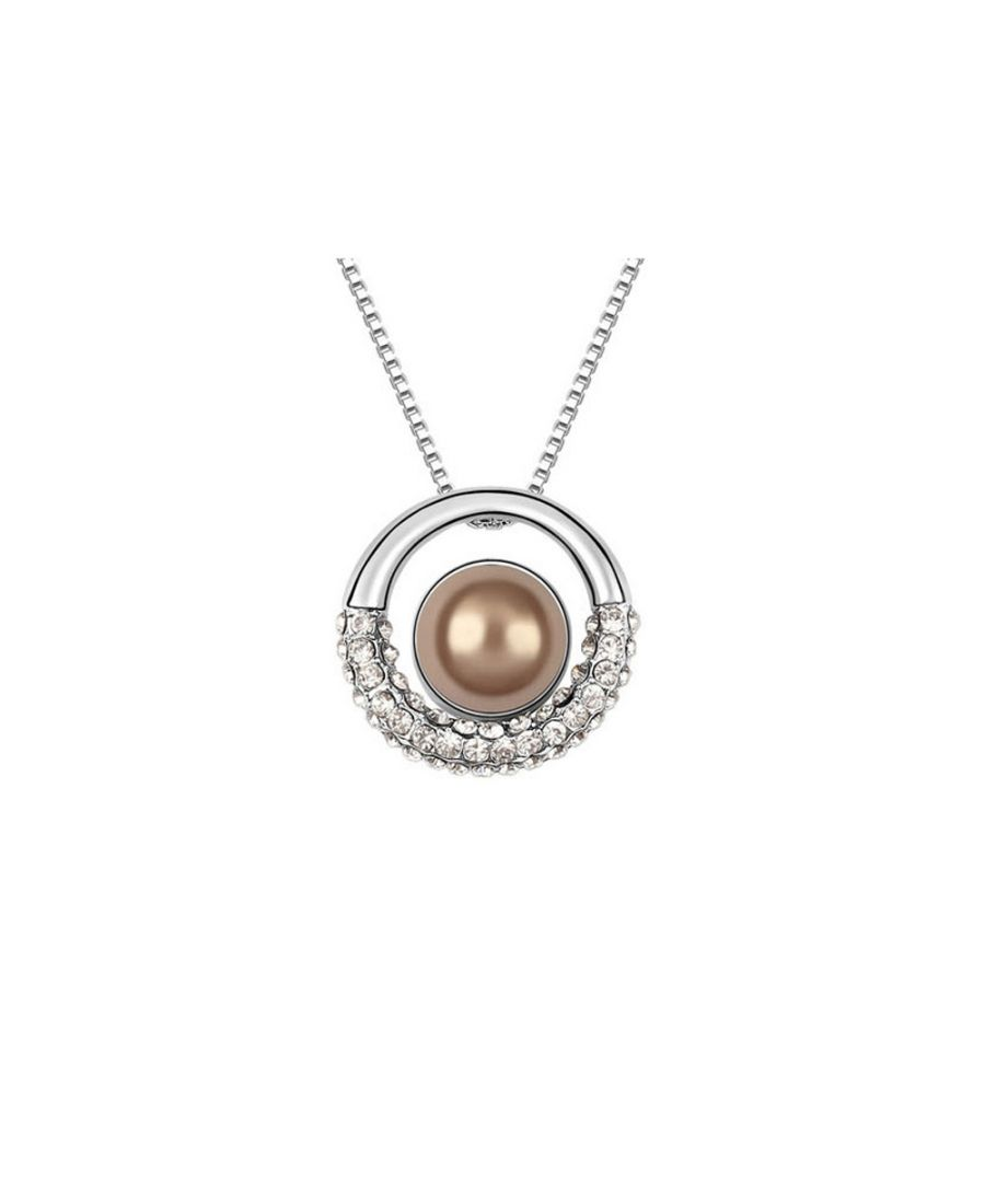 Image for Brown Pearl and White Crystal Circle Pendant