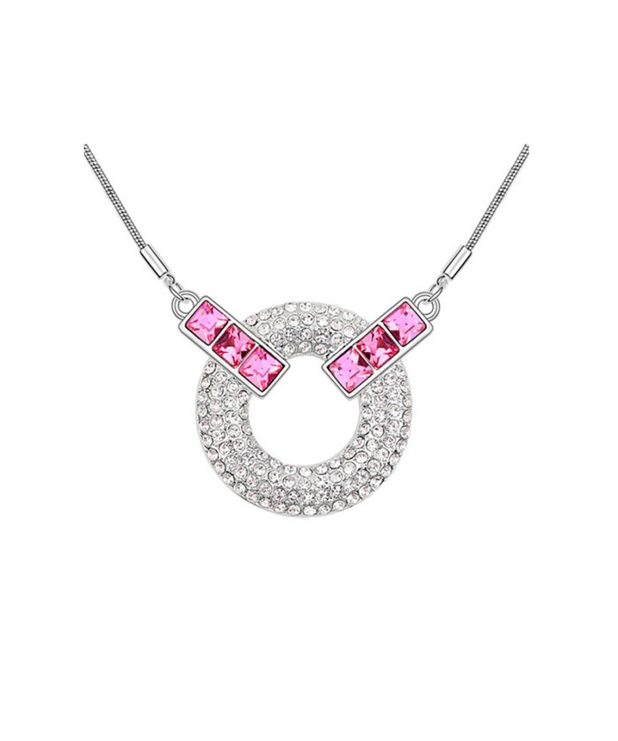 Image for Swarovski - Circle Necklace made with Pink Swarovski Crystal Elements