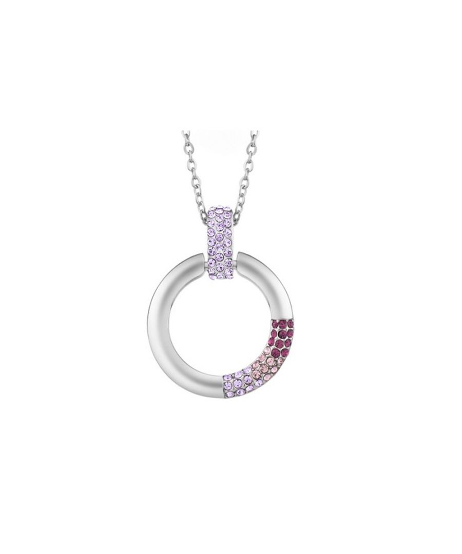 Image for Swarovski - Purple Swarovski Crystal Elements Circle Pendant and Rhodium Plated