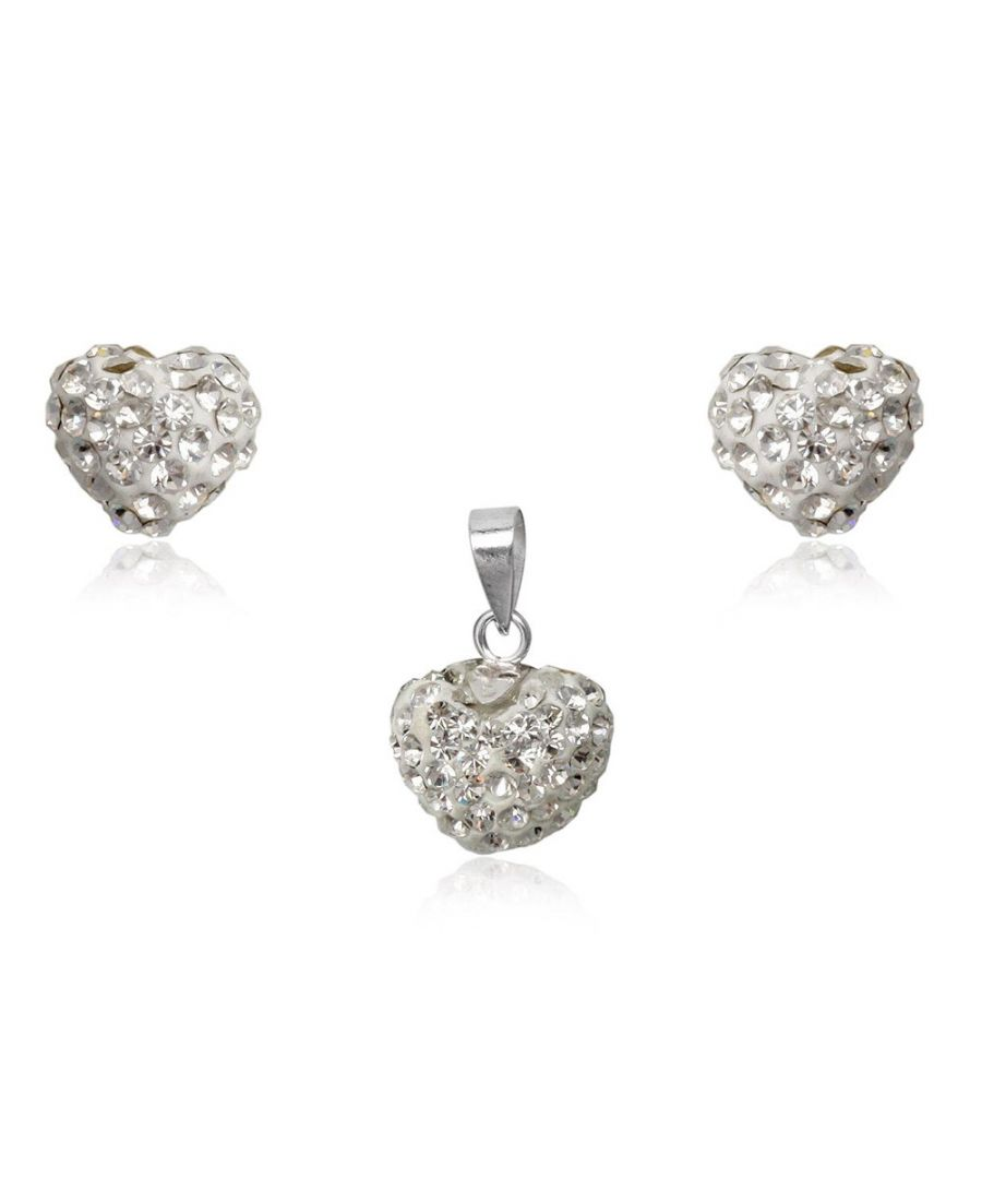 Image for White Crystal Heart Pendant and Earrings Set and 925 Silver