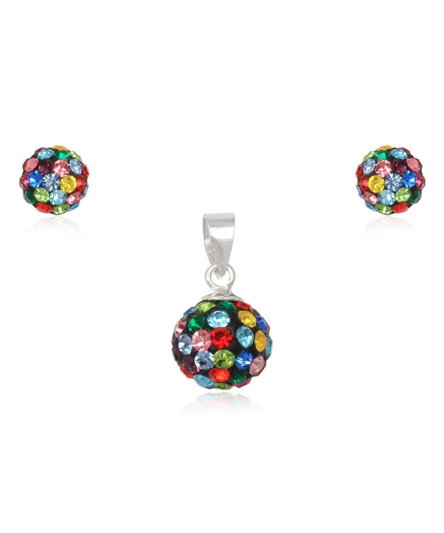 Image for Multicolor Crystal Pendant and Earrings Set and 925 Silver