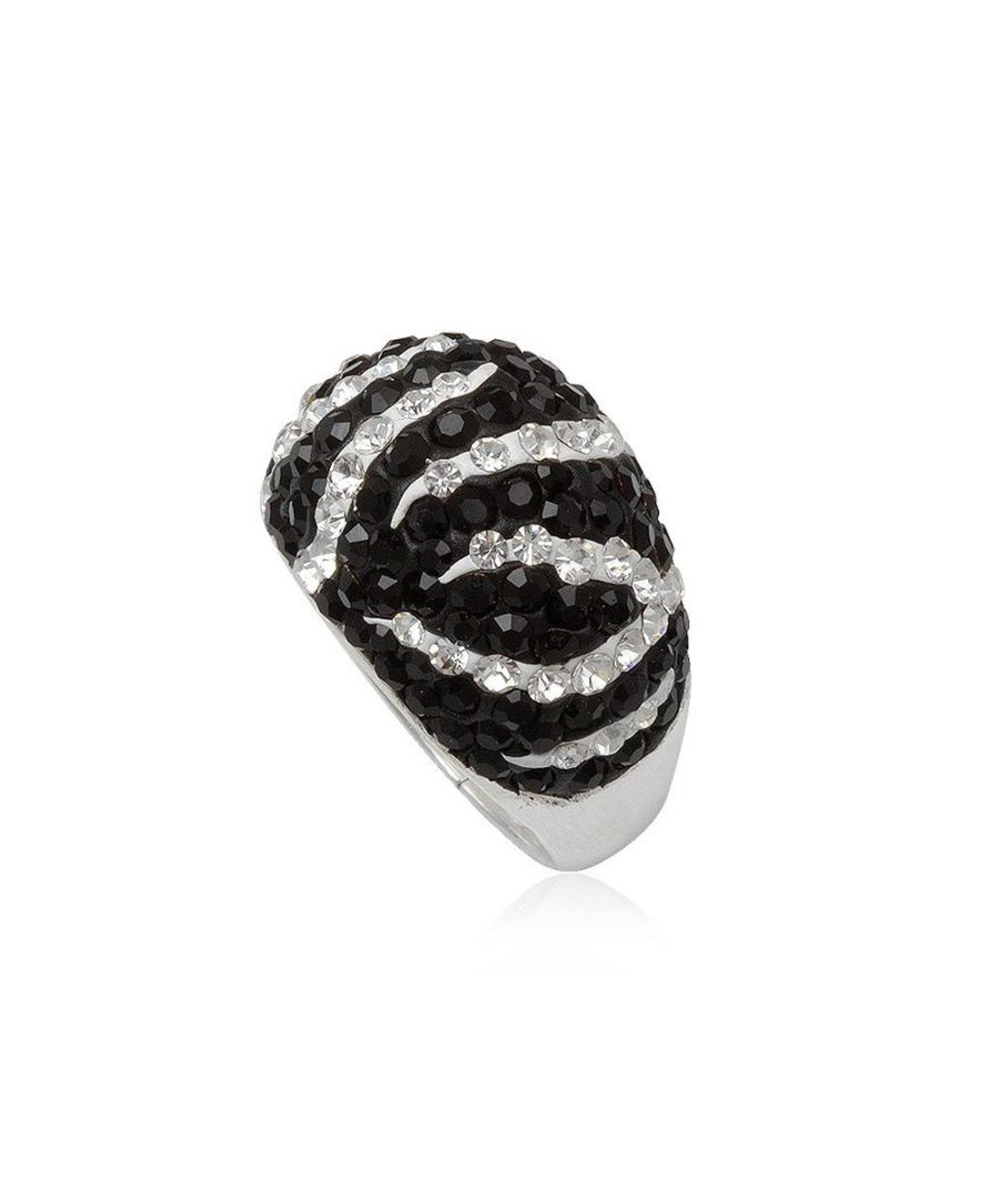 Image for Black and White Crystal Zebra Ring and 925 Silver