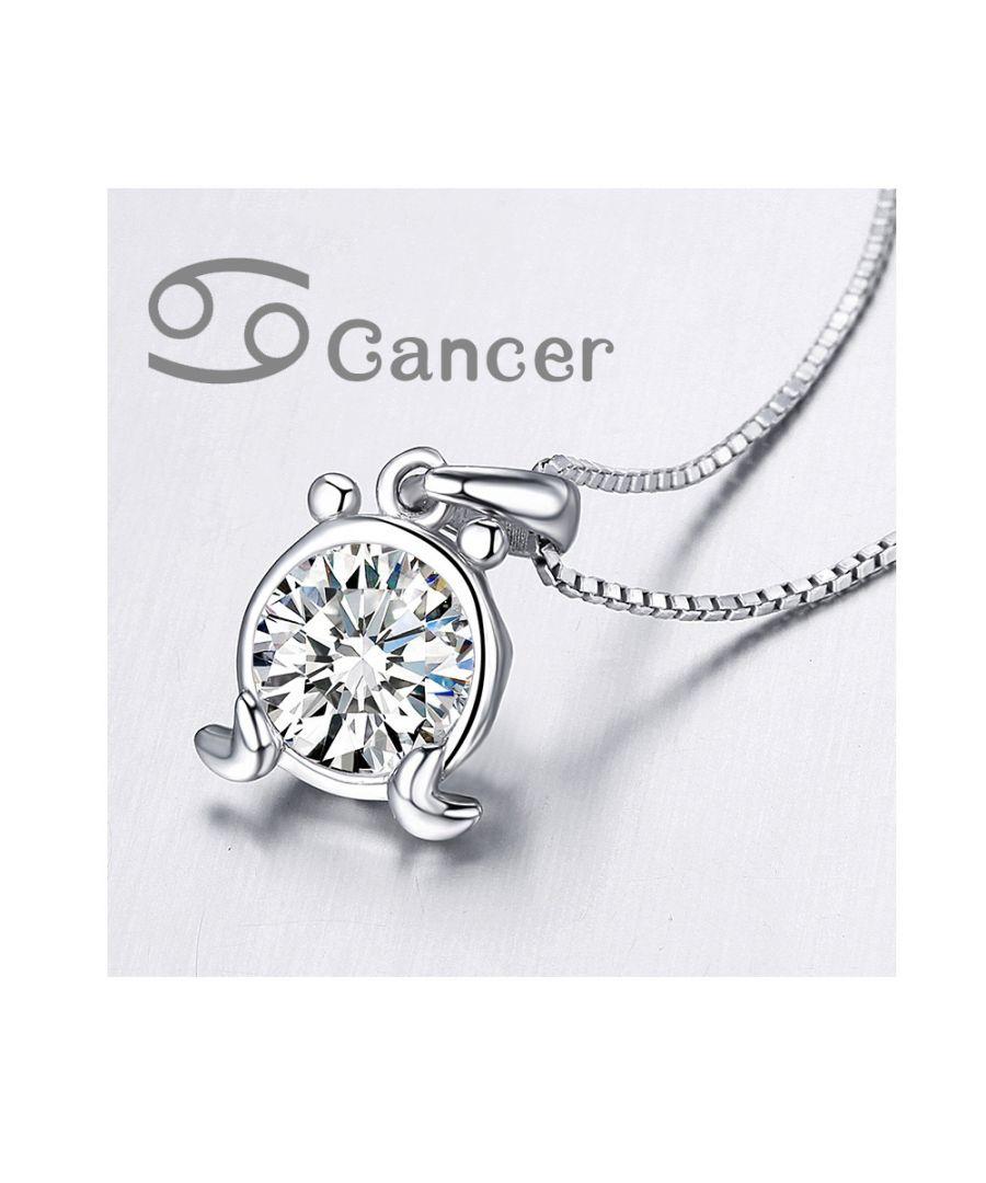 Image for Swarovski - White Swarovski Zirconia Crystal Cancer Pendant and 925 Sterling Silver