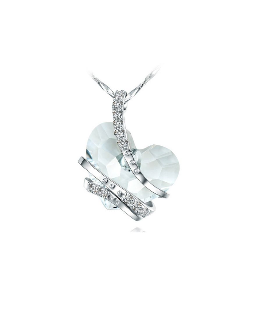 Image for Swarovski - White Swarovski Crystal Elements and Rhodium Plated Heart Pendant