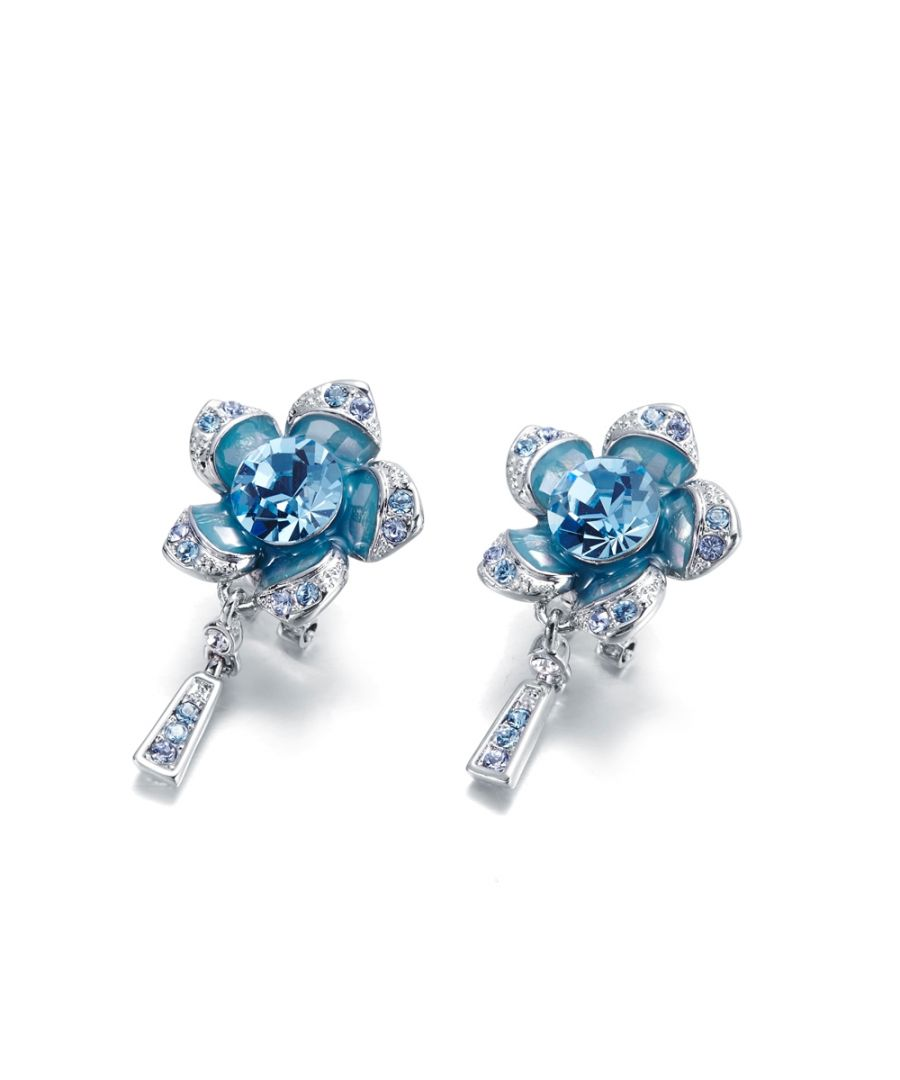 Image for Swarovski - Blue Swarovski Crystal Elements Flower Earrings and Rhodium Plated