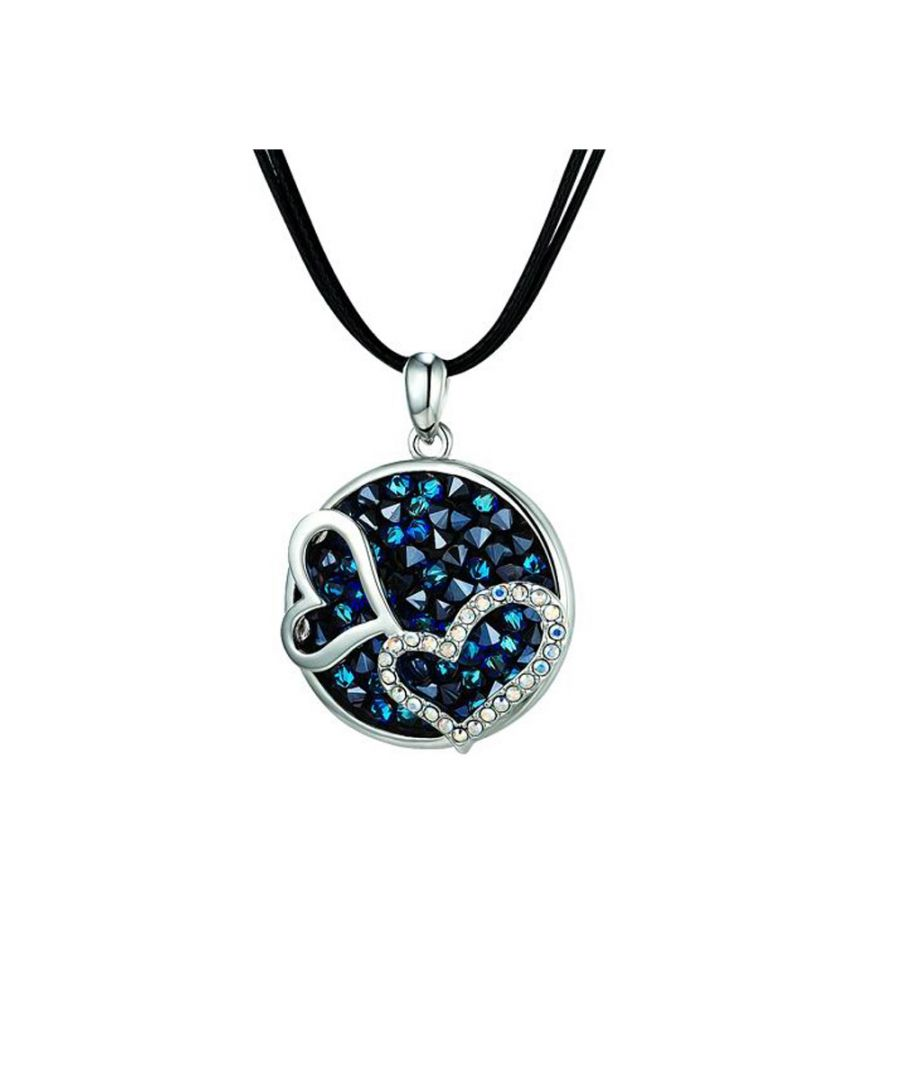 Image for Swarovski - Blue Swarovski Crystal Elements Double Hearts Necklace and Rhodium Plated