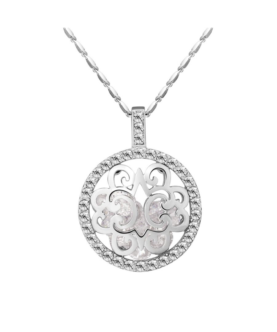 Image for Swarovski - White Swarovski Crystal Elements Circle Woman Long Necklace and Rhodium Plated