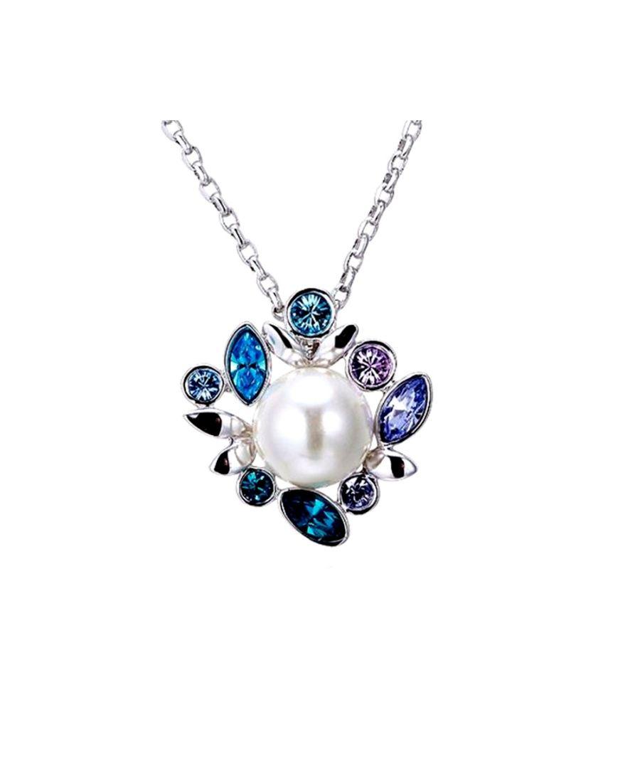 Image for Swarovski - White Pearl and Blue Purple Swarovski Crystal Elements Pendant