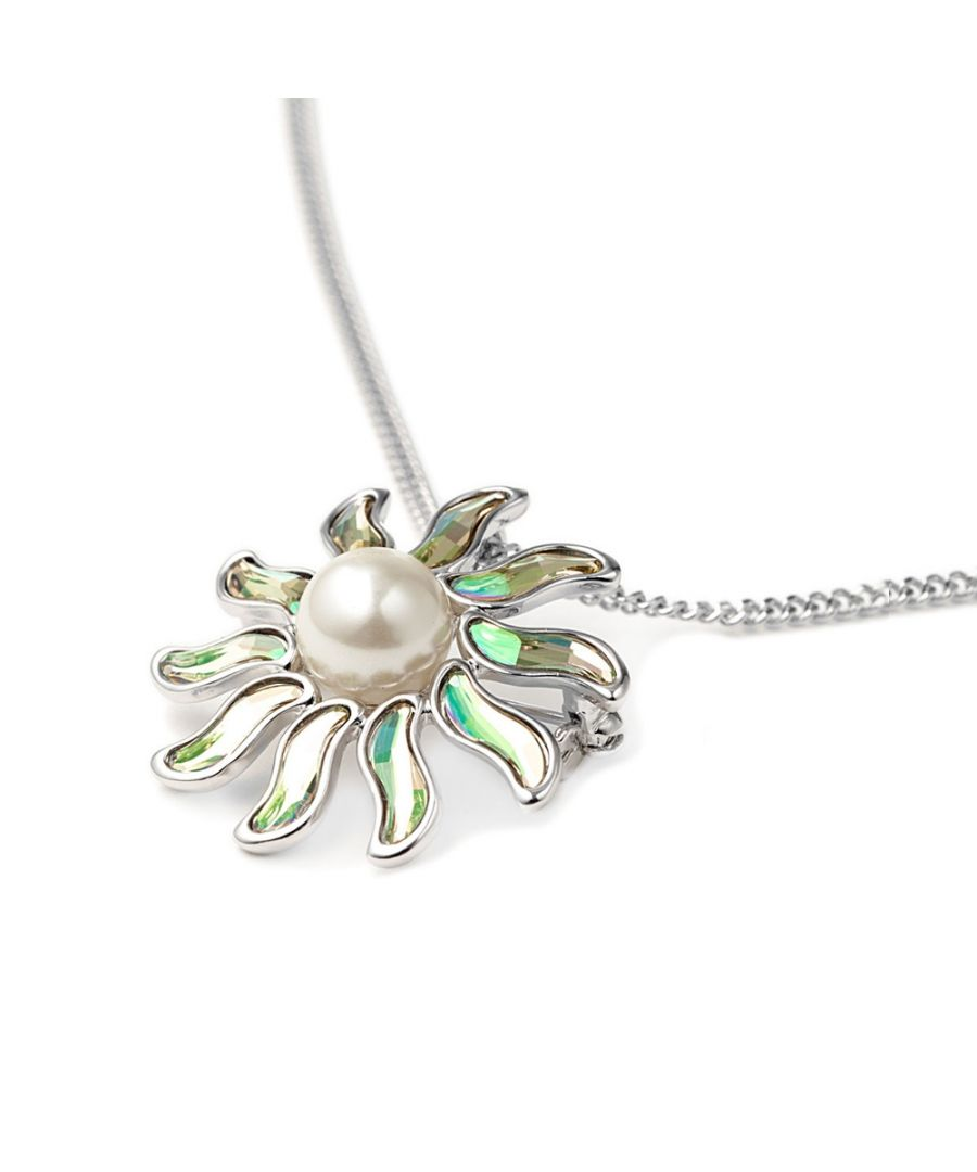 Image for Swarovski - White Pearl and Swarovski Crystal Elements Sun Brooch Pendant