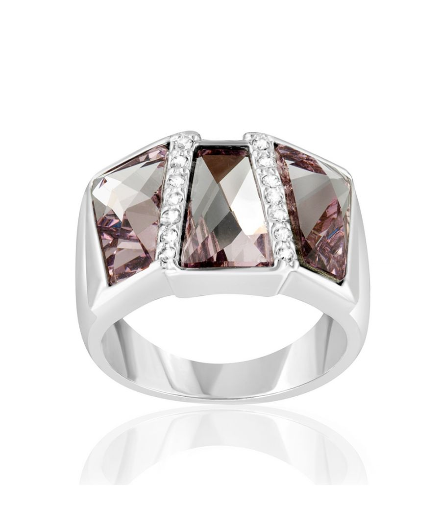 Image for Swarovski - Pink Swarovski Crystal Elements Ring Rectangle and Rhodium Plated