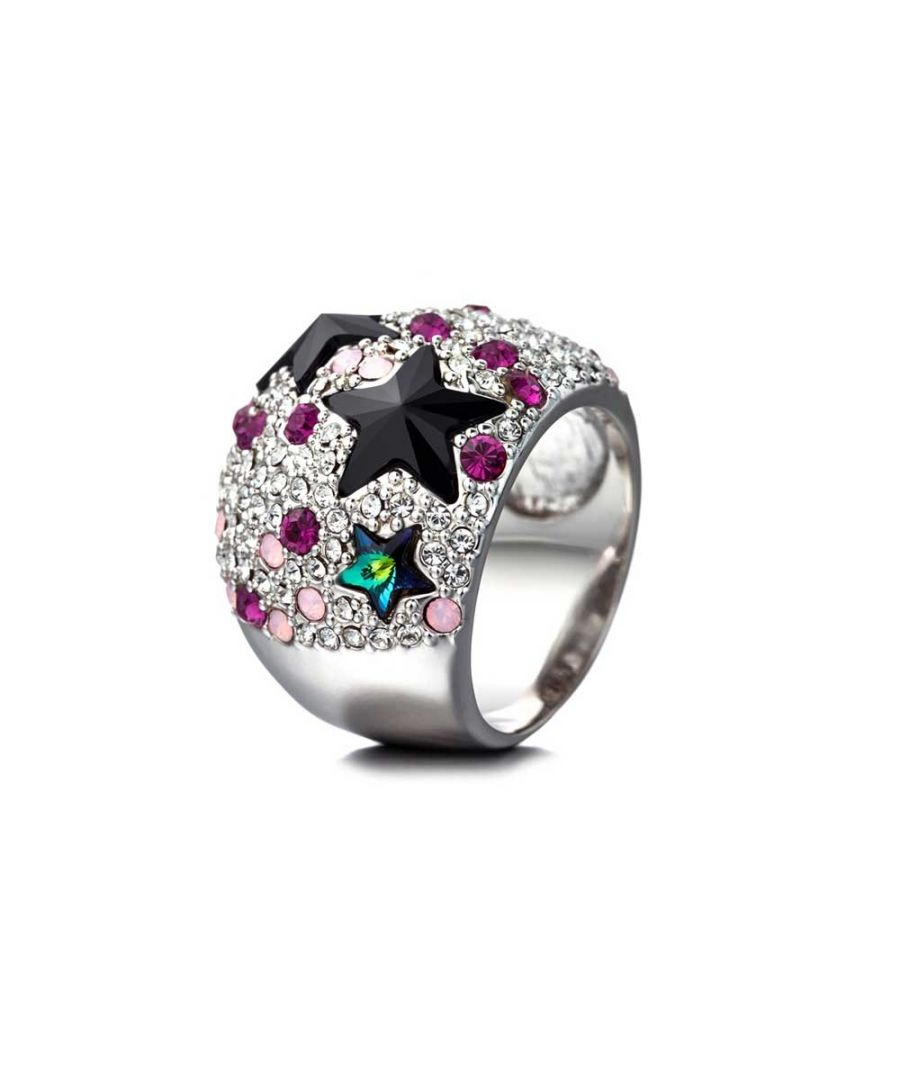 Image for Swarovski - Pink Swarovski Crystal Elements Stars Dome Ring and Rhodium Plated