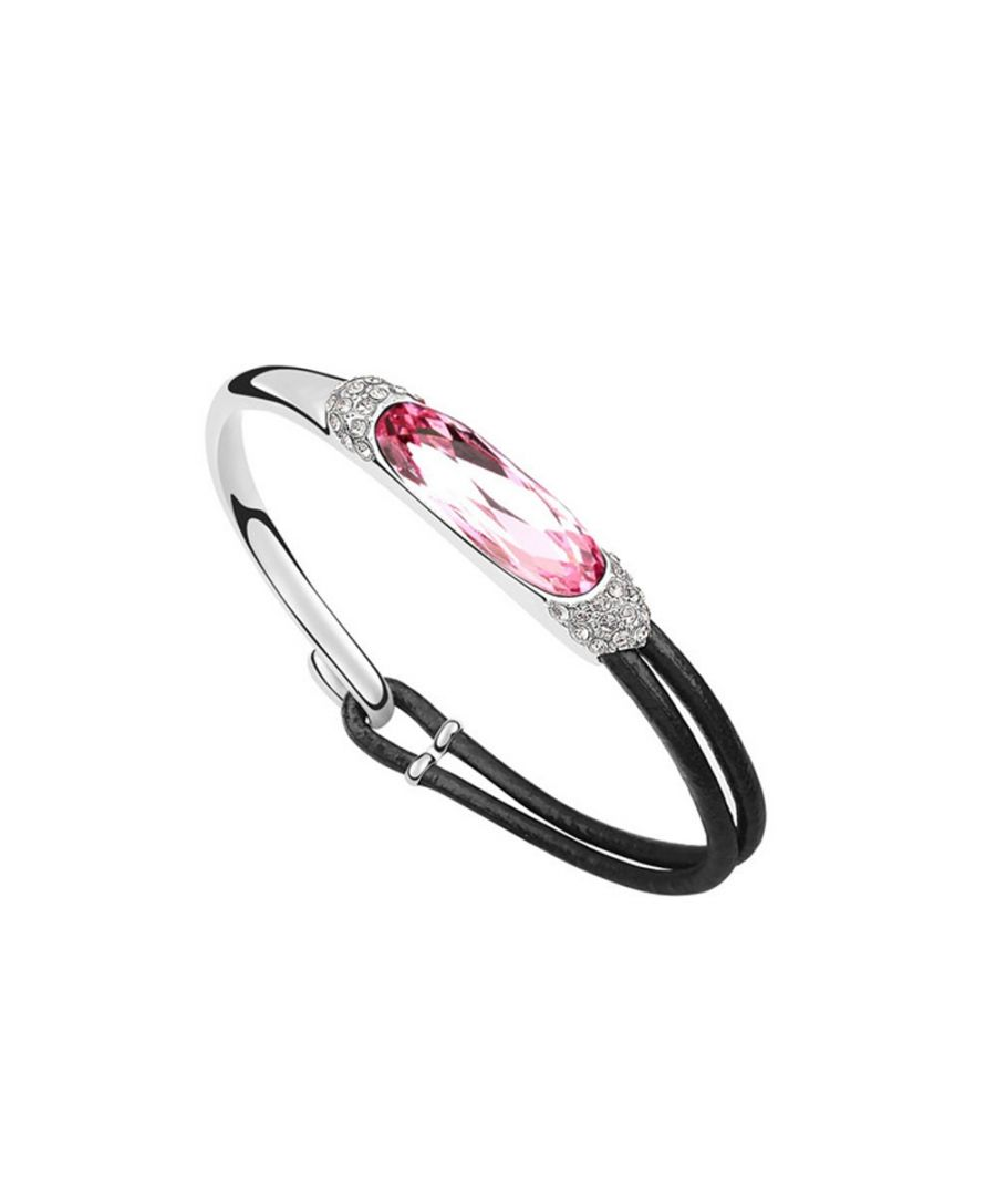 Image for Swarovski - Leather Bracelet made with Pink Swarovski Crystal Elements