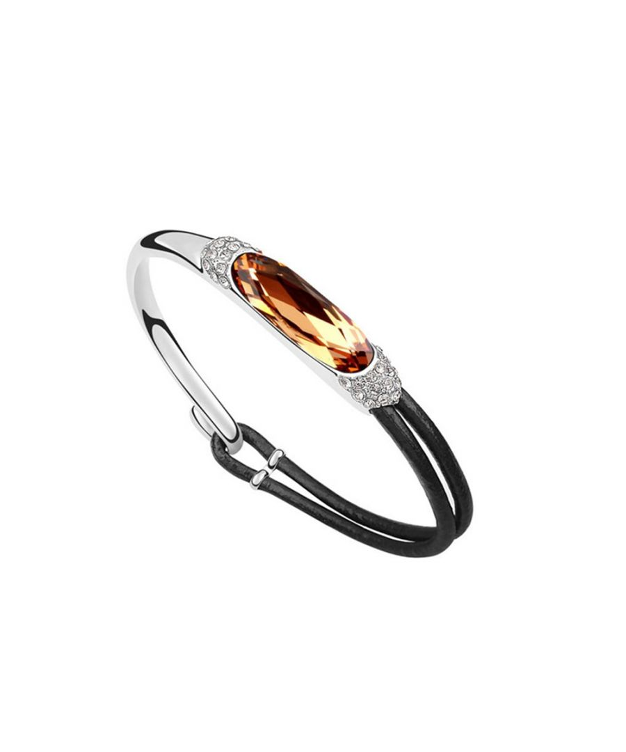 Image for Swarovski - Leather Bracelet made with Gold Swarovski Crystal Elements