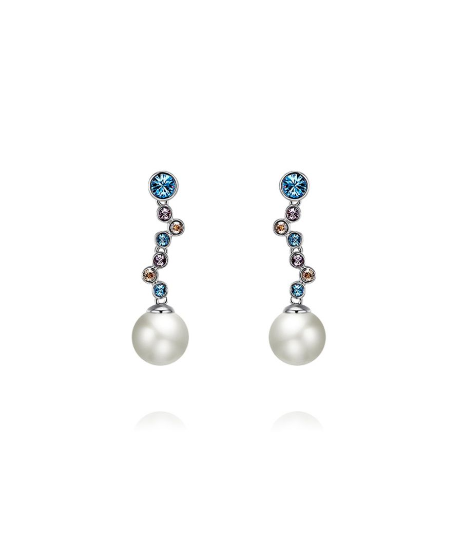 Image for Swarovski - White Pearl and Swarovski Crystal Elements Waterfall Blue Earrings and Rhodium Plated