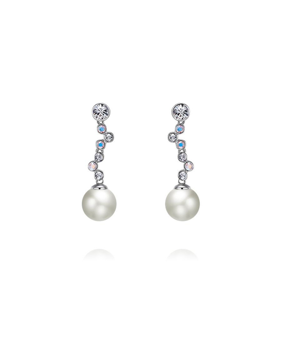 Image for Swarovski - White Pearl and Swarovski Crystal Elements Waterfall Earrings and Rhodium Plated
