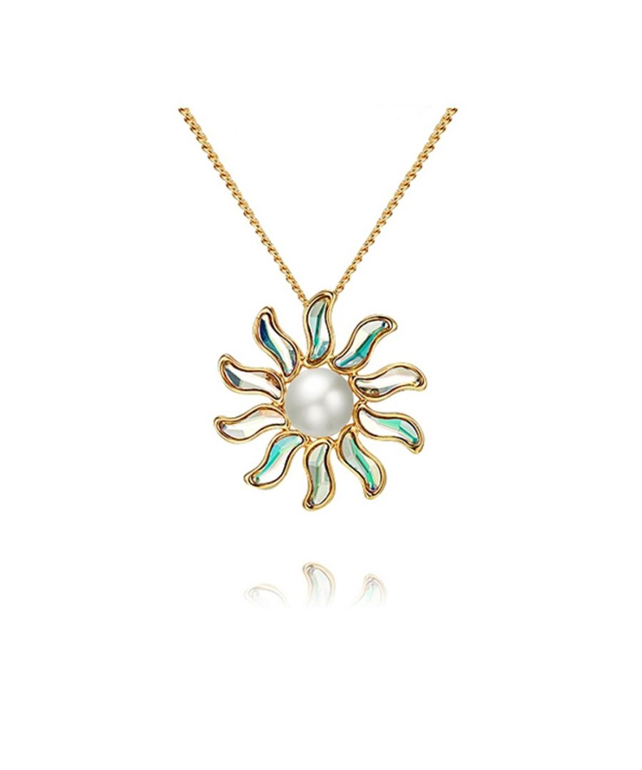 Image for Swarovski - Sun Pearl Pendant Brooch and Swarovski Crystal Elements