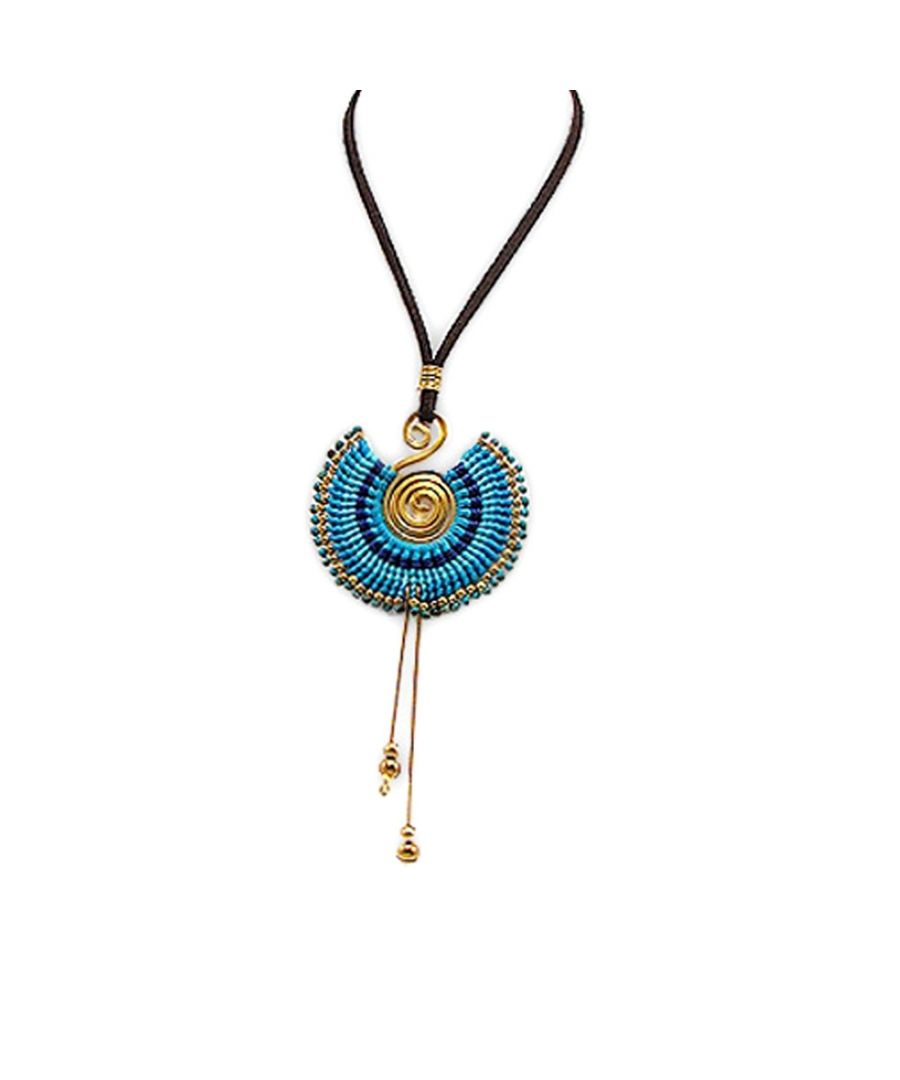Image for Blue Pearls and Gold Metal Spiral Necklace