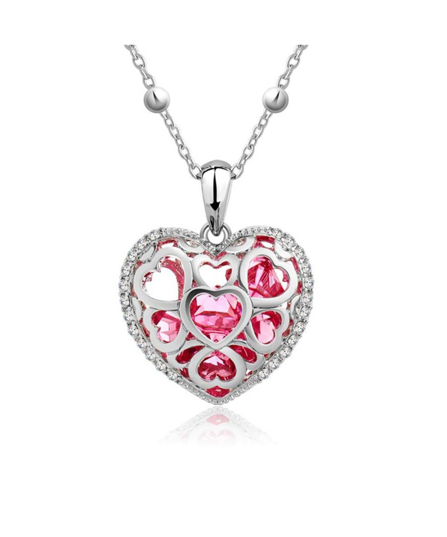 Image for Swarovski - Pink Swarovski Crystal Elements Heart Pendant and Rhodium Plated