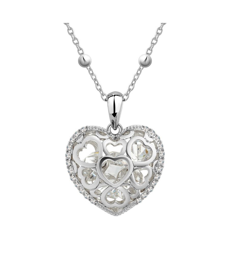 Image for Swarovski - White Swarovski Crystal Elements Heart Pendant and Rhodium Plated