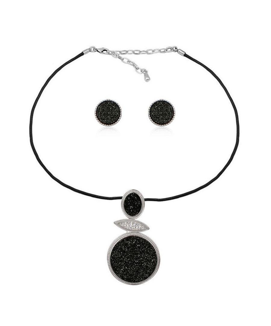 Image for Black Druzy Crystal Necklace and Earrings Set