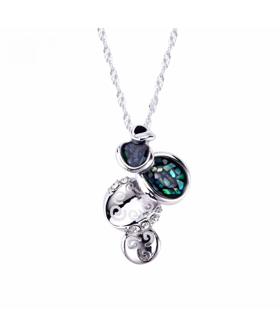 Image for Swarovski - White Swarovski Crystal Elements, Abalone Circles Pendant and Rhodium Plated