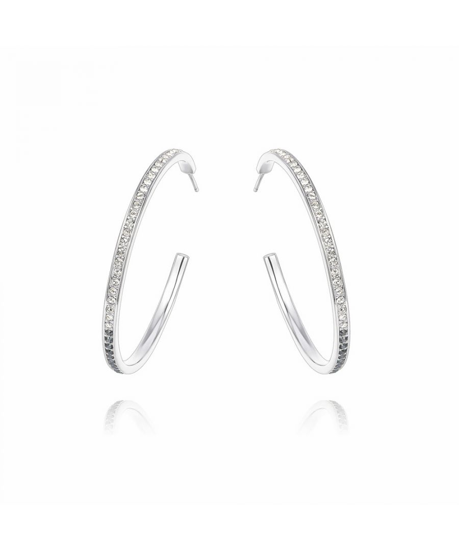 Image for Swarovski - White and Black Diamond Swarovski Crystal Hoop Earrings