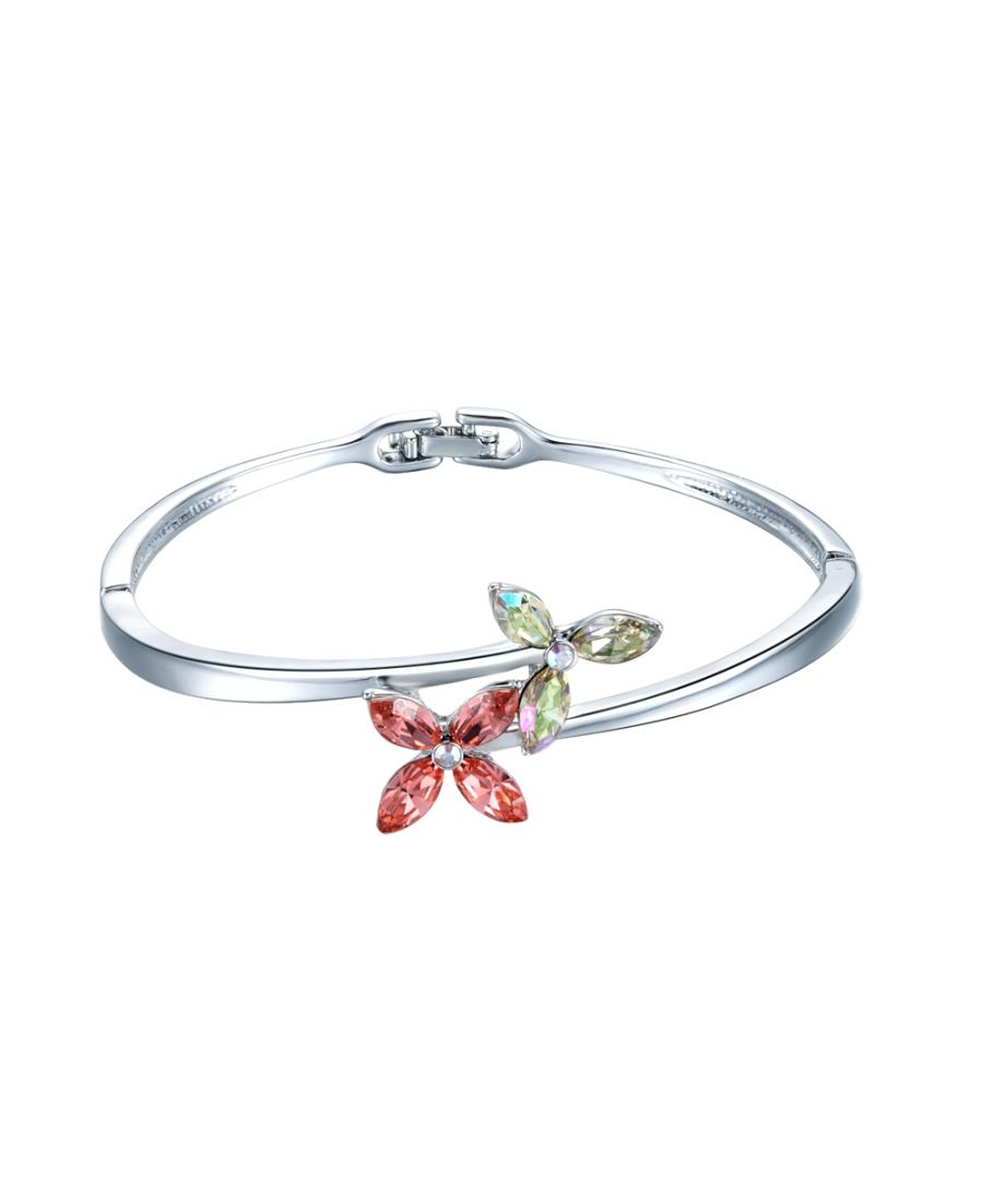 Image for Swarovski - Pink and White Swarovski Crystal Elements Flower and Rhodium Plated Bracelet Bangle