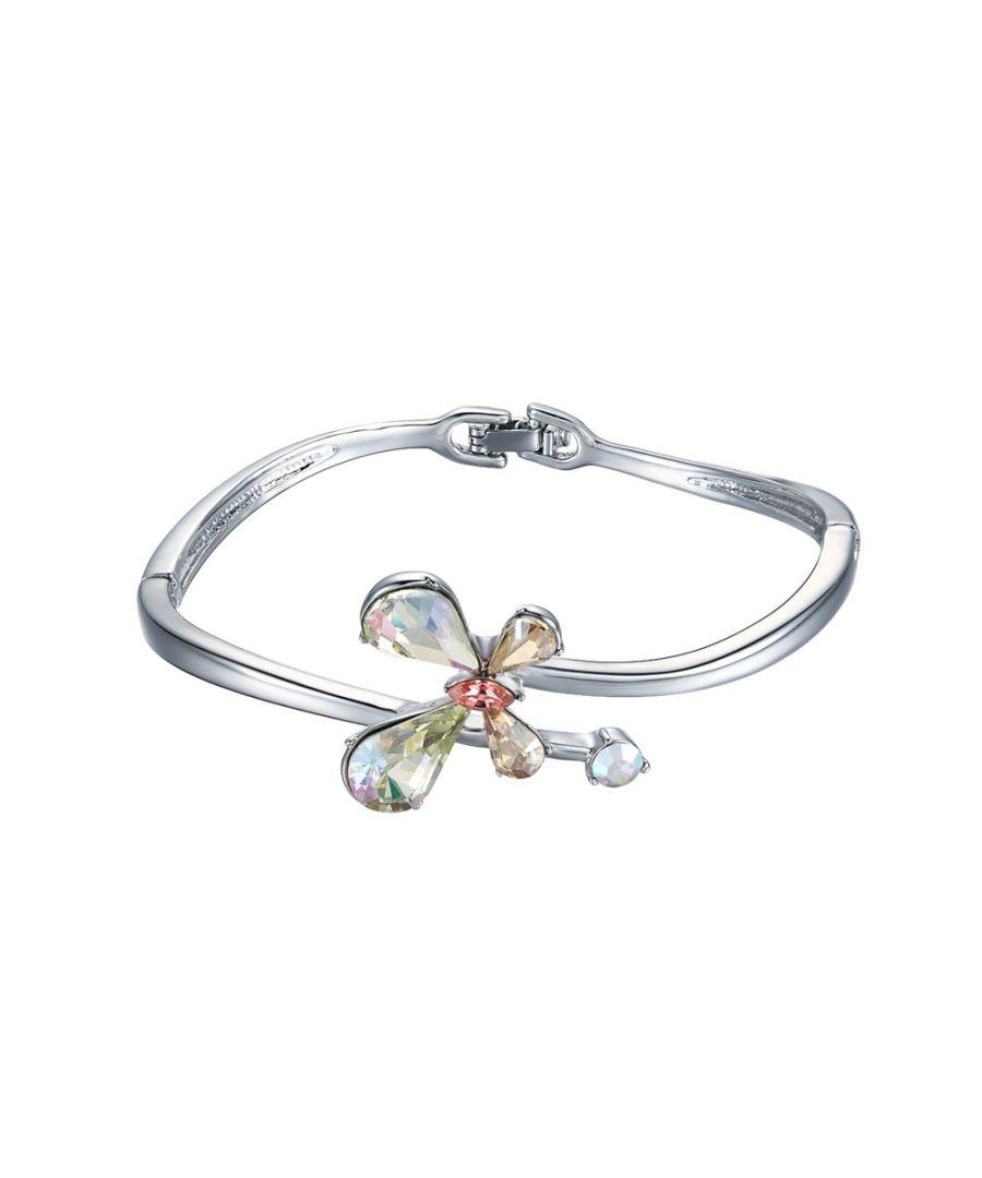 Image for Swarovski - Aurora Borealis Swarovski Crystal Elements Butterfly and Rhodium Plated Bangle Bracelet