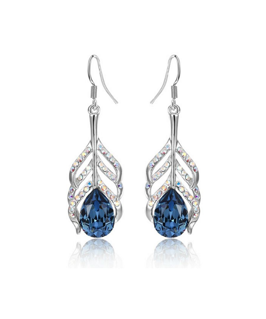 Image for Swarovski - Blue Swarovski Crystal Elements Peacock Feather Earrings