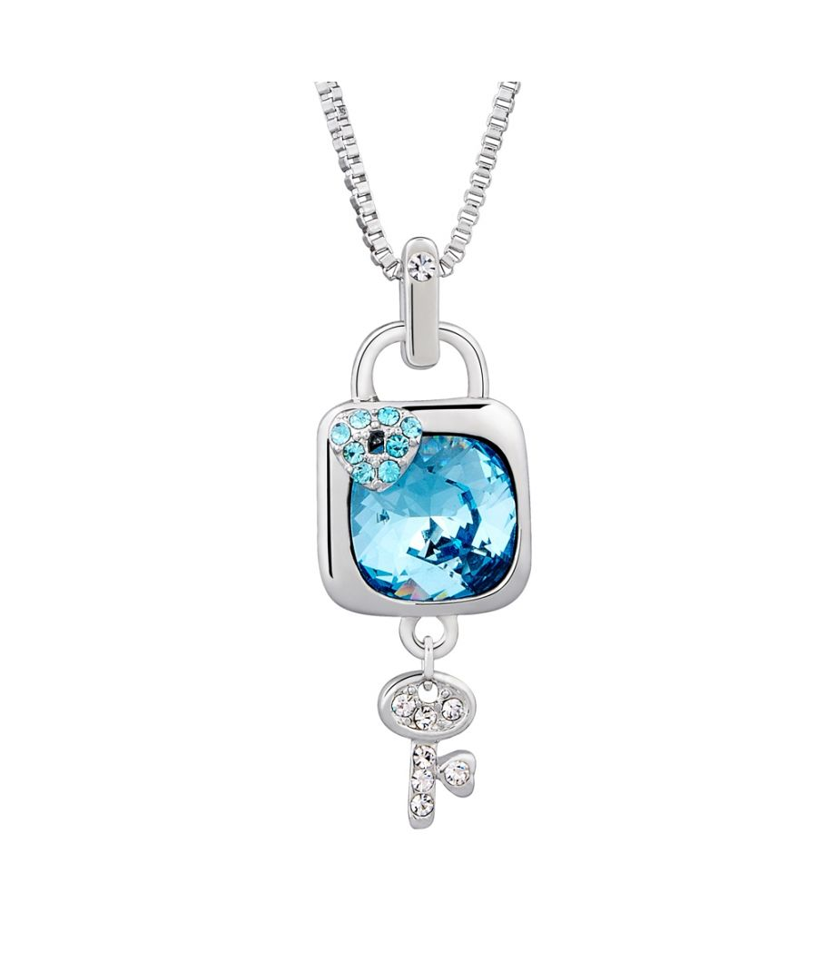 Image for Swarovski - Blue Swarovski Crystal Elements Padlock and Key Pendant and Rhodium Plated