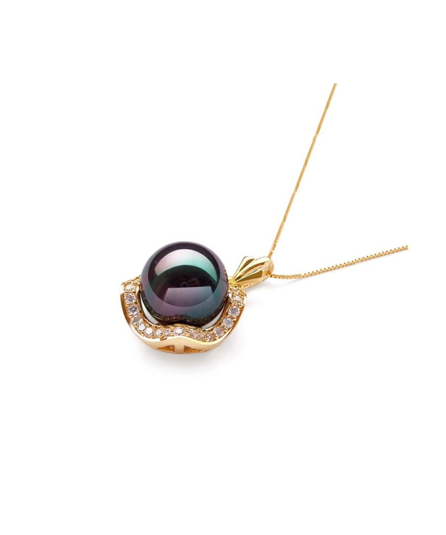 Image for Imitation pearl pendant in black reconstituted mother-of-pearl and yellow gold plated